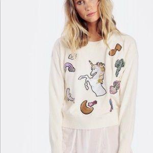 Wild fox unicorn sparkle patch sweater